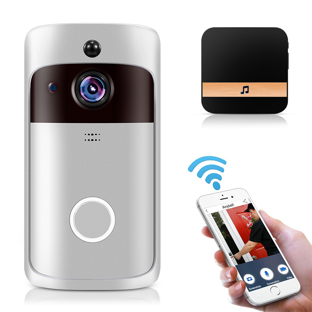 Bell Chime Intercom Camera Phone-Door Video WIFI Ir-Alarm White Smart 1080P Wireless title=