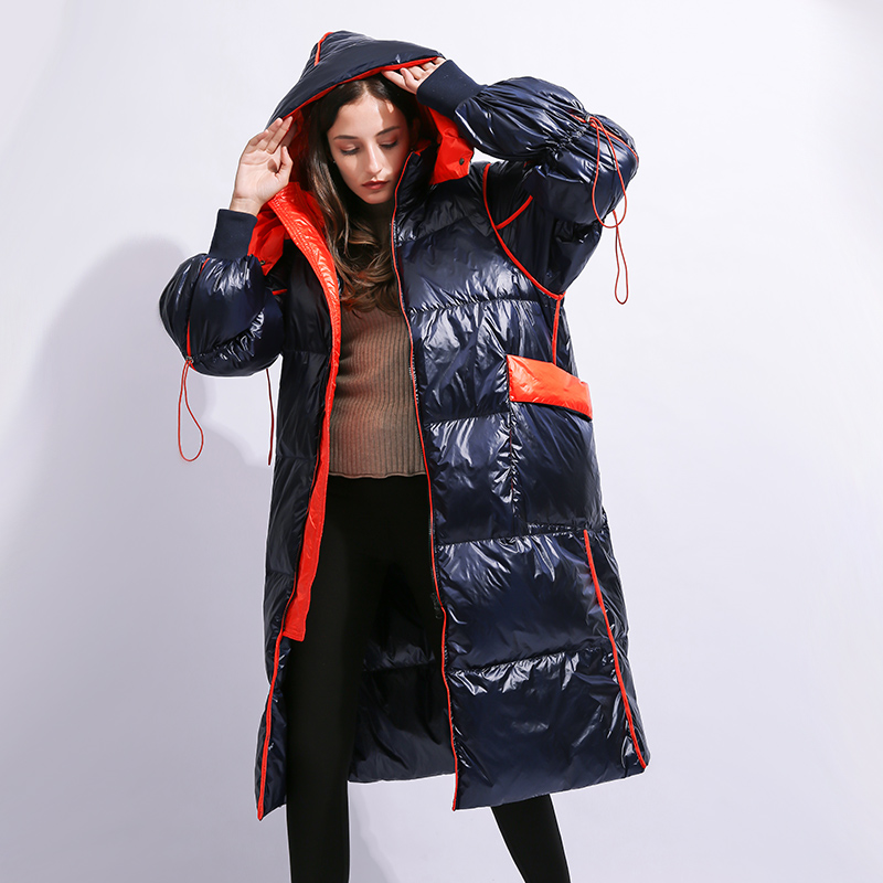 Winter red blue X-long thicker warm down jacket female glossy fabric warm jacket fluffy bread style duck down coat for cold F240