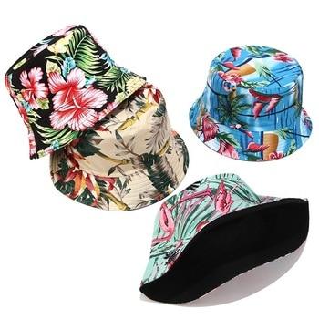Flower Print Bucket Hat Reversible Fisherman Hat Women Men Outdoor Travel Sun Hat Panama Bucket Cap Hats For Girl chic letters pattern strap embellished felt bucket hat for women