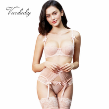 Varsbaby sexy lace transparent unlined half cup bra sets bra+panties+garters+stockings 4 pcs