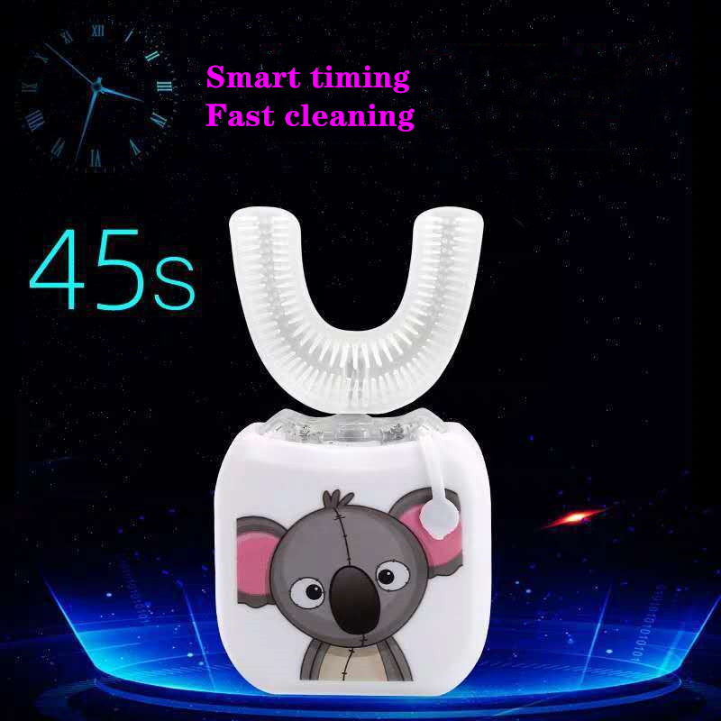 Smart U 360 Degrees Kids Electric Sonic Toothbrush Silicon Automatic Ultrasonic Tooth Brush USB Charging Oral B LED Blue Light
