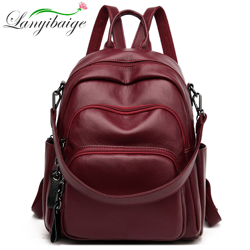 Fashion Female Backpack Three-layer Main Bag With Large Capacity Travel Back For Girl School Bag Sac A Dos PU Leather Backpack