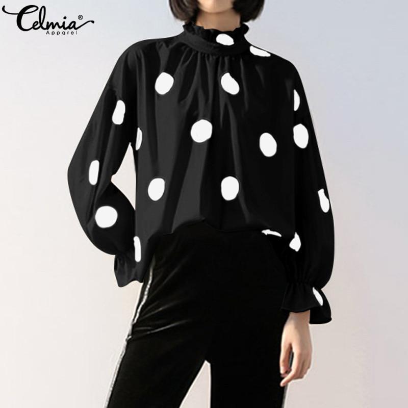 2020 Spring Celmia Women Vintage Blouses Lantern Sleeve Polka Dot Print Tunic Shirts Casual Stand Collar OL Tops Ladies Blusas 7