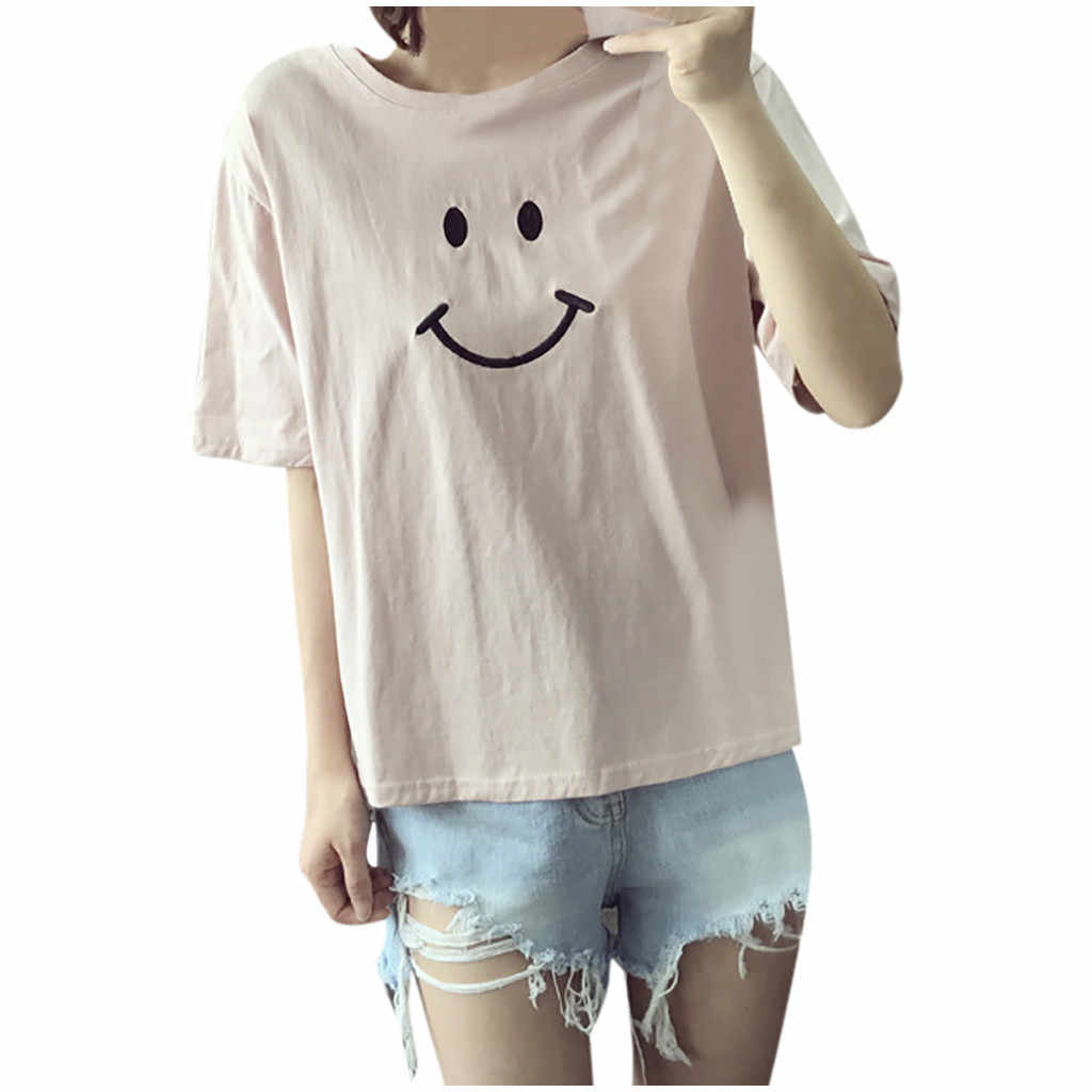 Nieuwe T-shirt Vrouwen Fashion Casual Korte Mouw Smiles Dames O-hals T-shirt Tops Poleras Camiseta Mujer Top Vrouwen Harajuku T-shirt