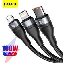 Baseus USB Kabel Für iPhone PD 100W USB Typ C Daten Kabel Für Xiaomi Samsung 5A Schnelle Lade 3 in 1 USB-C Micro USB Draht Kabel
