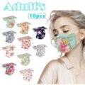 50 шт. Mascarillas Цветочный принт маска одноразовые маски Aldute 10 видов стилей 3 слойная маска для лица для Для женщин маска розовое рот шапки