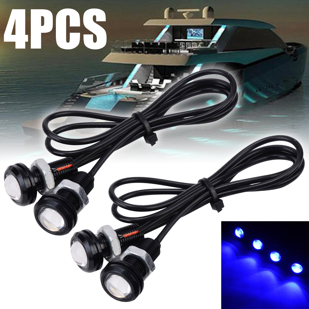 4pcs 12V 10W Blue LED Boat Light Waterproof Outrigger Spreader Transom Under Water Troll Lamp For Marine Underwater Fish