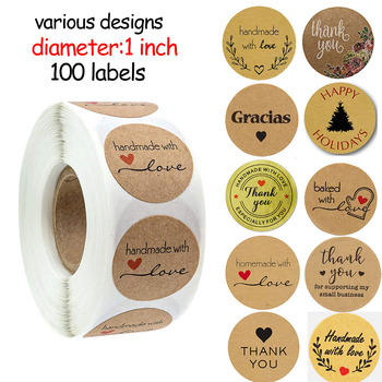 100pcs Handmade with Love Letter Stickers Thank You Stickers Roll Labels Wedding Box Gift Packing Decoration Stationery Stickers
