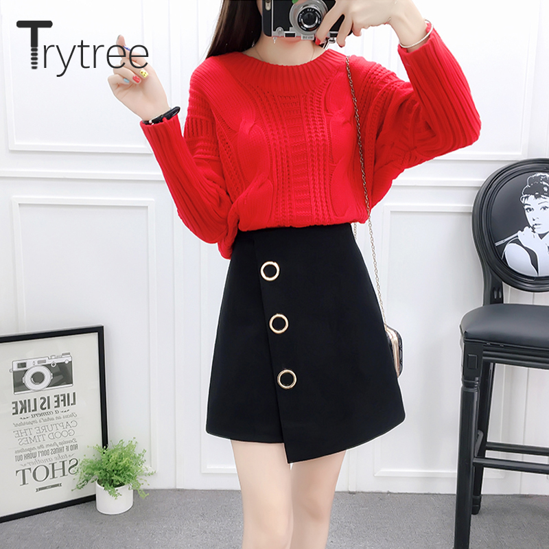 Trytree 2019 Autumn Winter Two Piece Set Casual O-neck Solid Knitting Top + Skirt Mini Fashion Irregularity Set 2 Piece Set