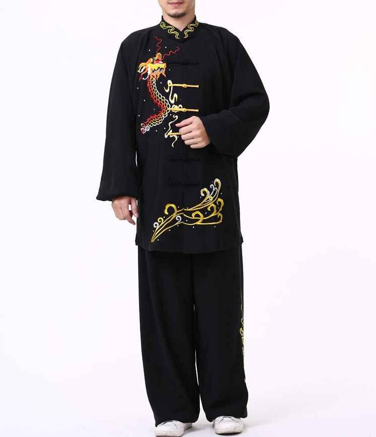 Qualidade superior personalizar outono & inverno bordado dragão/phoenix artes marciais roupas kung fu wushu uniformes taiji tai chi ternos