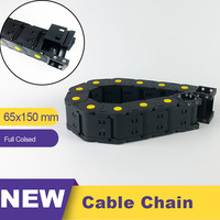 65*150 65x150 Big Size Nylon Plastic Transmission Cable Chain Full Closed Drag Leaf Chain 65 Wire Carrier