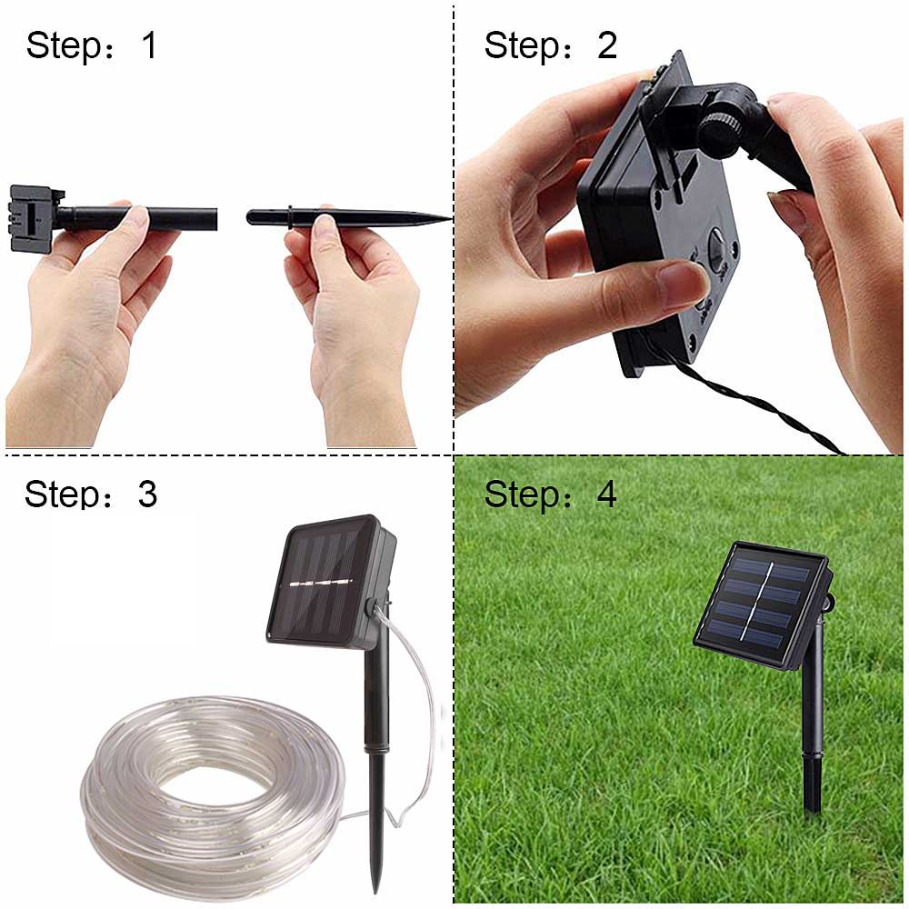 Image 4 - 12m 100 Led Solar Garden Light Outdoor Rope Tube String Lights 50 Led Strip Solar Power Lamp Waterproof Wedding Xmas Fairy Decor-in Solar Lamps from Lights & Lighting