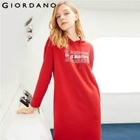 Giordano Women Dress Printed Letter Hooded Sweat Dress Regular Fit Long Sleeve Young Vestido Ropa Mujer 05469889