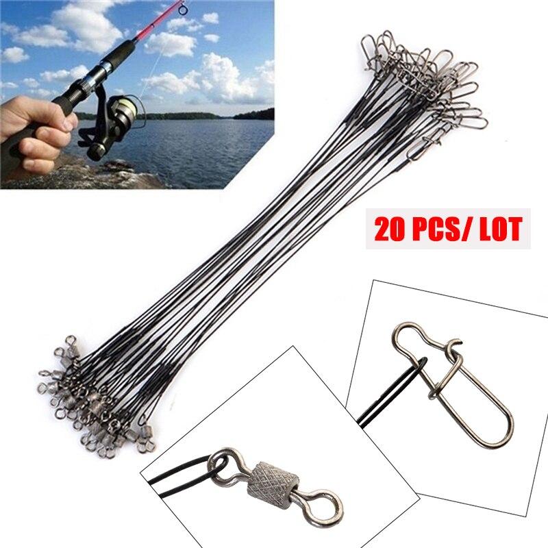 20pcs/lot Anti Bite Steel Fishing Line Steel Wire Leader With Swivel Fishing Accessory Lead Core Leash Fishing Leader Wire