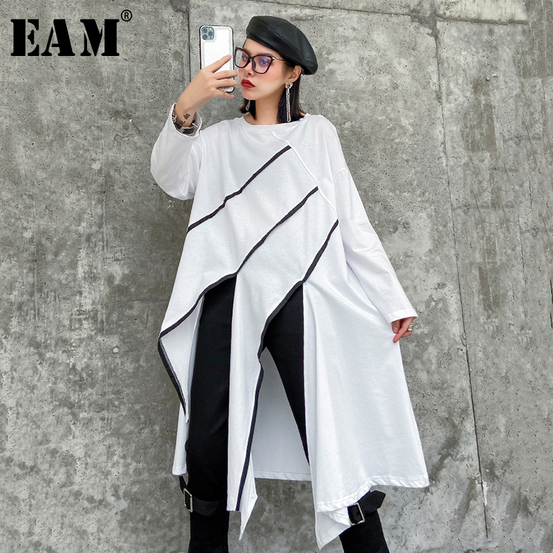 [EAM] Women White Asymmetrical Vent Split Joint Big Size T-shirt New Round Neck Long Sleeve  Fashion Spring Autumn 2020 1R500