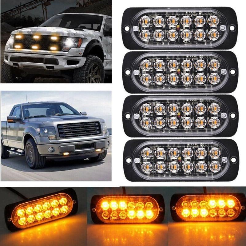 Решетка мерцающий светильник для дома и сада светильник бампер светильник автомобиль грузовой фургон Jeep пикап мотоцикл 12-24V 12LED Водонепрони...