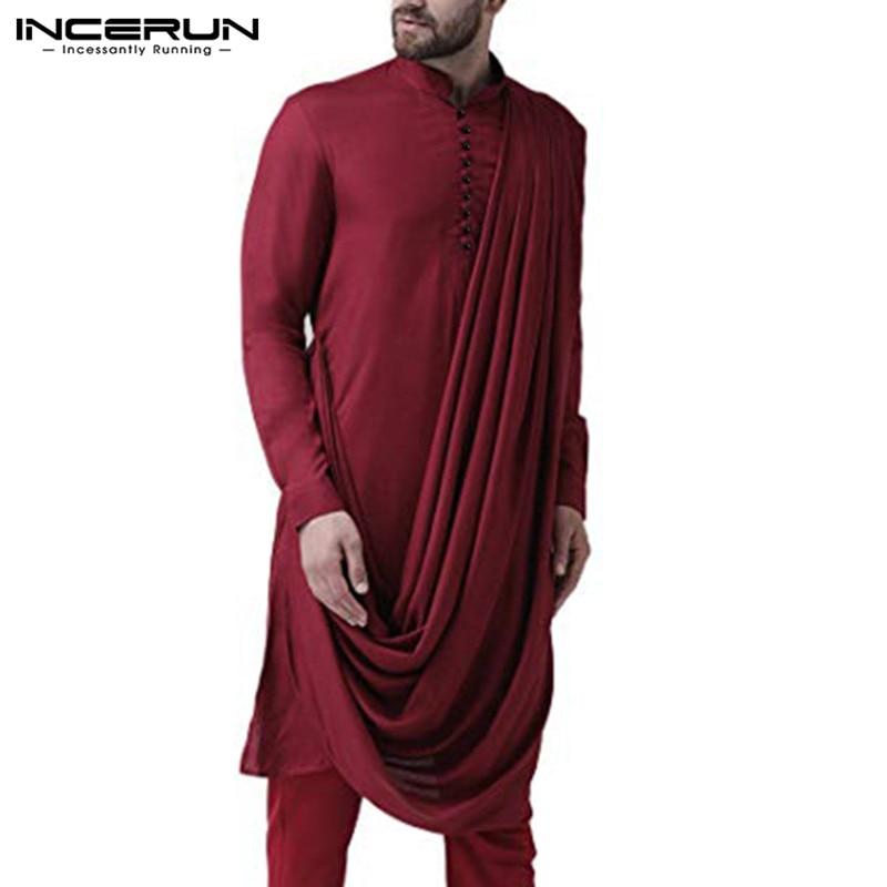Retro Men Indian Clothing Solid Color Irregular Shirt Button Stand Collar Long Sleeve Long Shirts Muslim Men Kurtas INCERUN 2020
