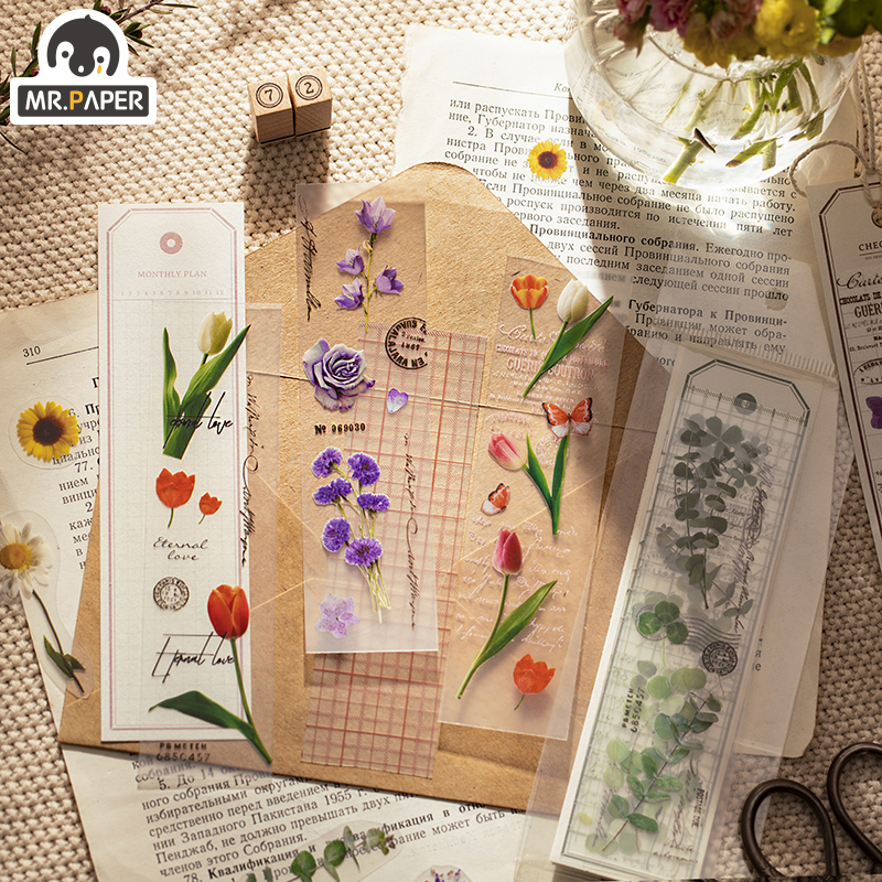 16 Pcs/bag 6 Designs Ins Style Dried Flower Research Institute Series Creative Simple Hand Account Decor DIY Material Bookmarks