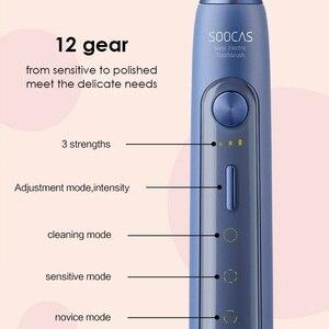 Image 4 - Soocas X5 spazzolino elettrico sonico USB ricaricabile aggiornato adulto IPX7 spazzolino da denti Ultra sonico 12 modalità pulite con testine