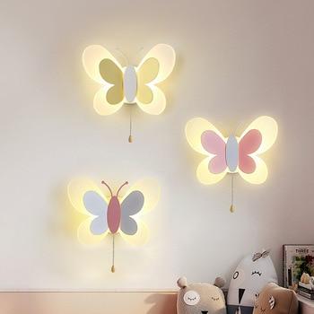 Cartoon Cute Blue Pink Butterfly Wall Lamp Creative Mount LED Light Kids Child Girl Boy Baby Bedroom Nursery School Decor