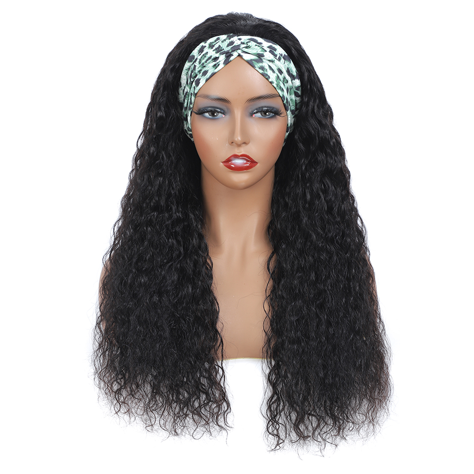 New Headband Wig  Wigs  Deep Wave 26 Inch  Machine Made  Natural Color Hair 150% Density 3