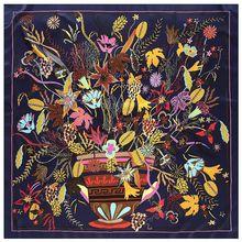 جديد كبير مربع وشاح حريري شالات النساء زهرة طباعة نمط الأوشحة 130*130 سنتيمتر pholards فام Echarpes التفاف بالجملة