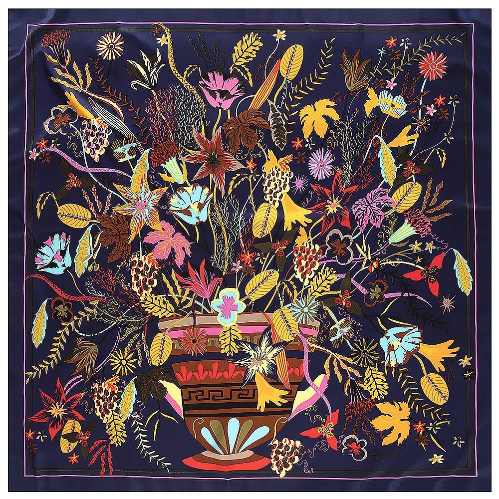 2020 New Large Square Silk Scarf Women Shawls Print Flower Pattern Scarves  Foulards Femme Echarpes Wrap Wholesale 130*130CM