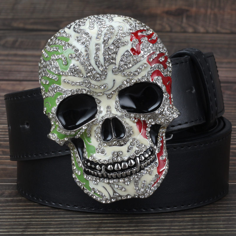 Man Skull Belt With Diamond Punk Style Men Metal Smooth Buckle Skull Head Skulls Pattern Belts Black Brown White