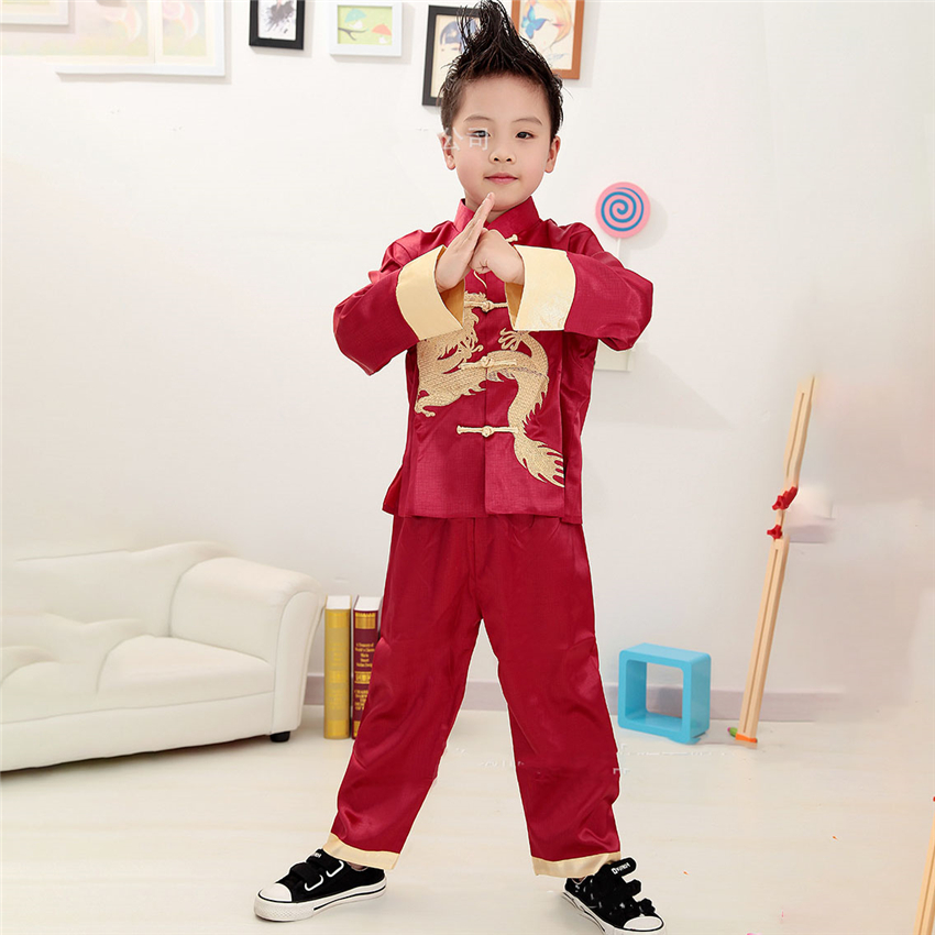 Kdis Costume Chinese Style Jacket Pants Suit Kung Fu Uniform New Year Hanfu Men Festival Outfits Children Traditional Clothing