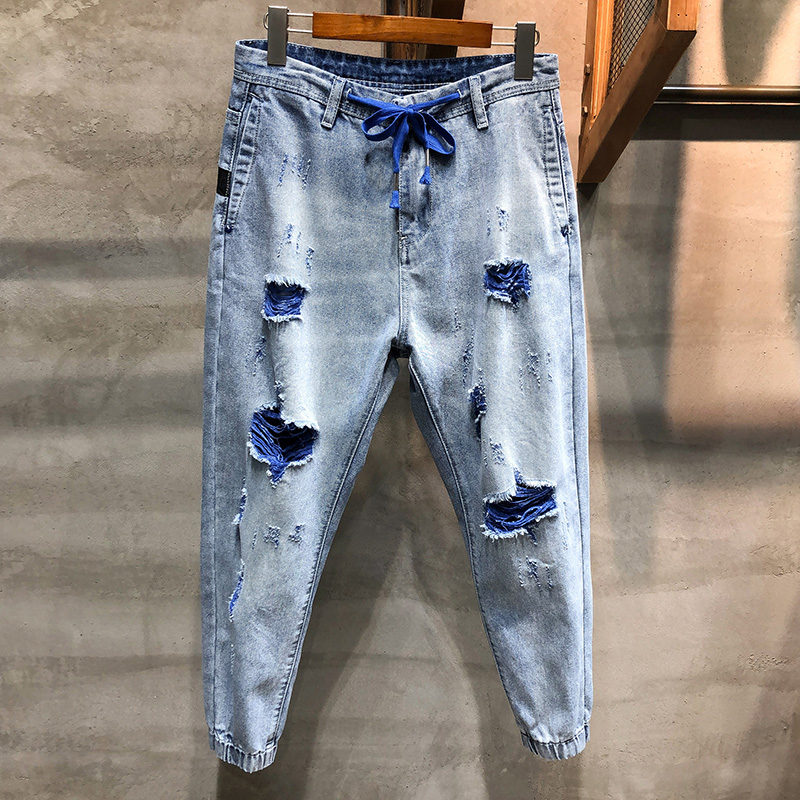 KSTUN Ripped Jeans Men Cropped Pants Light Blue Cotton Hip hop Korean Style Jogger Jeans Drawstring Waist and Baggy Legs Distressed 10