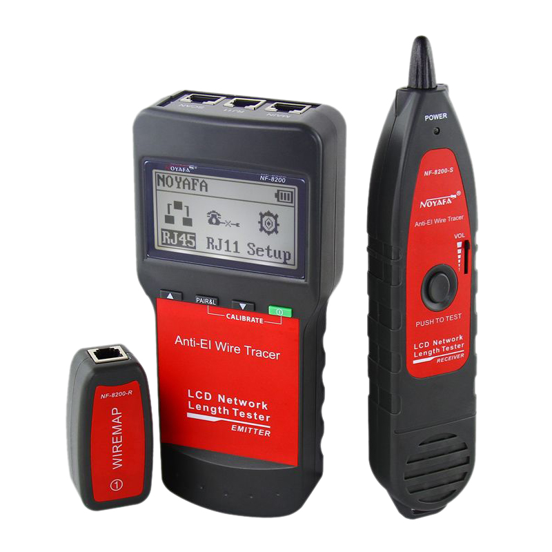 NOYAFA NF-8200 LAN RJ45 Wire Cable Tester Ethernet Network Wire Tracker Cable Length Tester with Backlight LCD Display