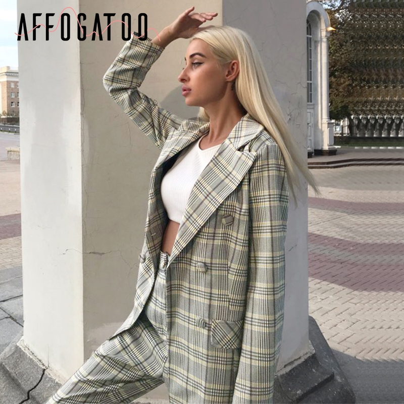 Affogatoo Elegant Office Ladies Double Breasted Plaid Blazer Suit Women Long Sleeve Casual Blazer Coat Button Female Blazer Pant
