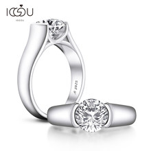 IOGOU Real 2 Carats D Color Moissanite Diamond Wedding Rings For Women 18K White Gold Color 100% 925 Sterling Silver Bridal Ring
