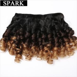 Image 2 - Faísca extensão do cabelo humano ombre brasileiro solto bouncy encaracolado feixes de cabelo 3 tom ombre remy feixes tecer cabelo preto feminino l