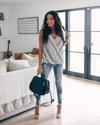 Nice Fashion Women Stripes Camis Casual Lightwear Cross Strap Tees Summer V-Neck Tank Top
