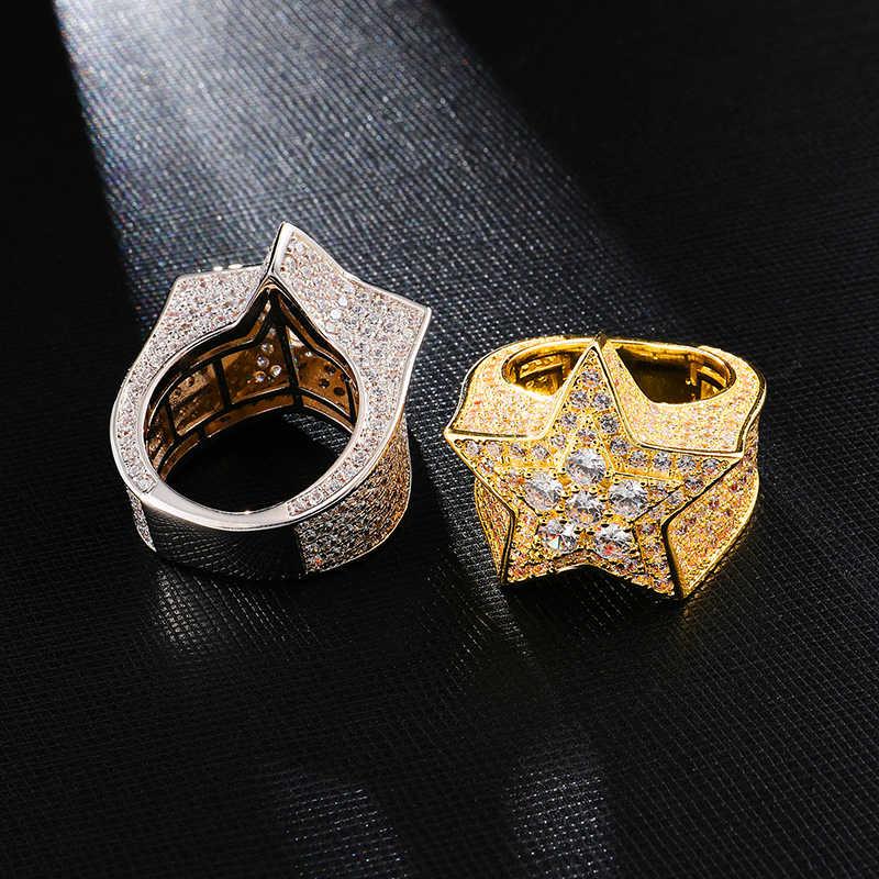 Hip Hop Full CZ Cubic Zircon Charm Đá Ra Bling Tready Ngôi Sao Đồng Nhẫn Đính Đá Zircon Cho Nam Nữ Trang Sức Vàng bạc