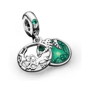 O leão rei pumba pingente caber original pandora encantos pulseira verde esmalte dino parque balançar pulseiras para mulher jóias presente
