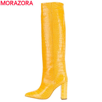 MORAZORA Plus size 34-45 Hot knee high boots women shoes thick high heels boots pointed toe fashion ladies cowboy western boots