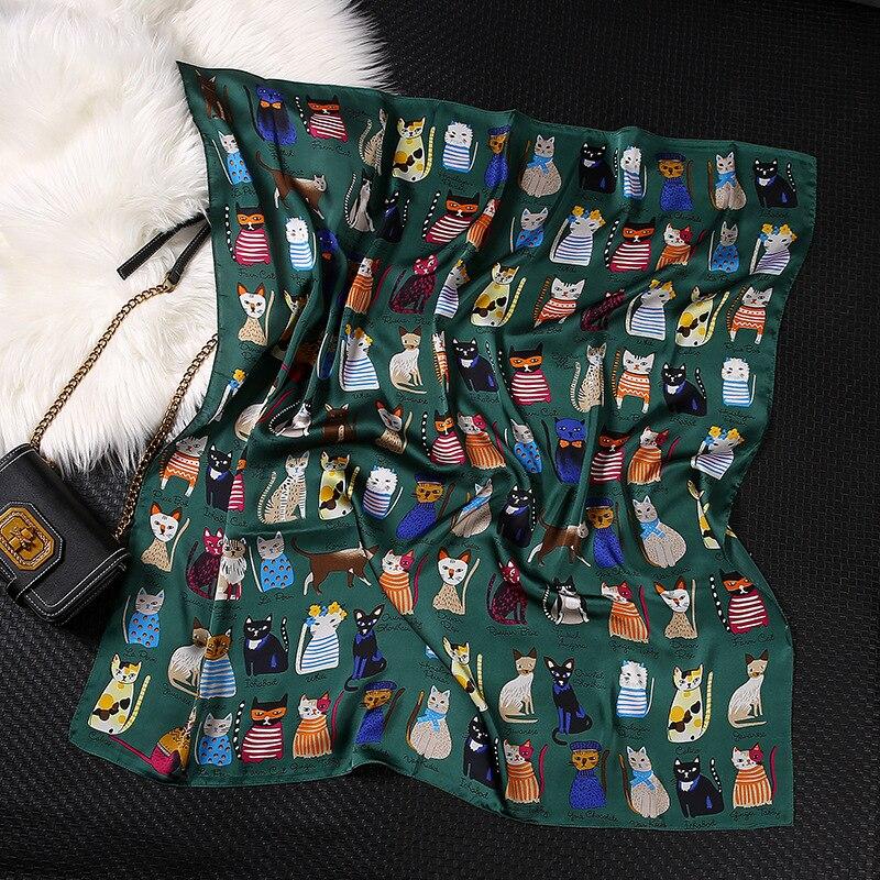 90*90cm 2021 New Designer Women's White Green Animal Print Square Neck Scarf Neckerchief Women Silk Satin Cat Scarfs for Ladies