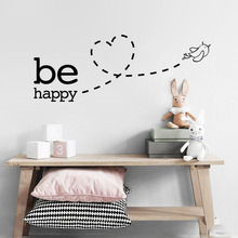 цена на Be Happy flying bird Heart Wall Sticker for kids room bedroom decoration home art Decals wallpaper Removable stickers LW532