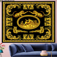 Court style retro Deconstruction panther Tapestry wall hanging Vintage personality boheme angle macram bohemian home decor