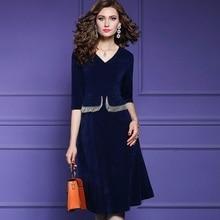 Rétro automne robe 3xl 2019 nouvelle qualité supérieure carrière OL femmes sexy robe grande taille bureau rétro dames robes de soirée a ligne