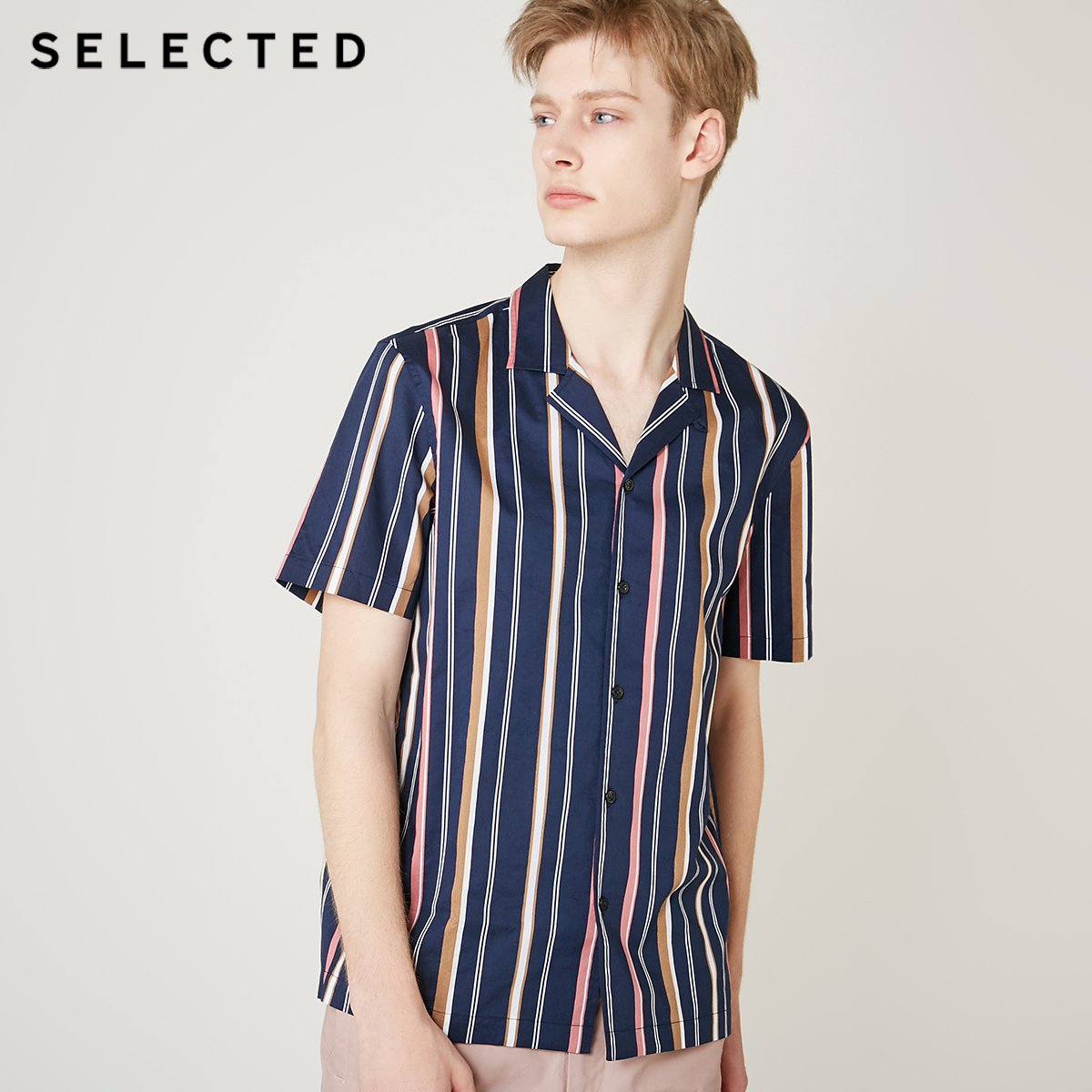 SELECTED Men's Loose Fit 100% Cotton Striped Contrast Stitching Short-sleeved Shirt S|419204551
