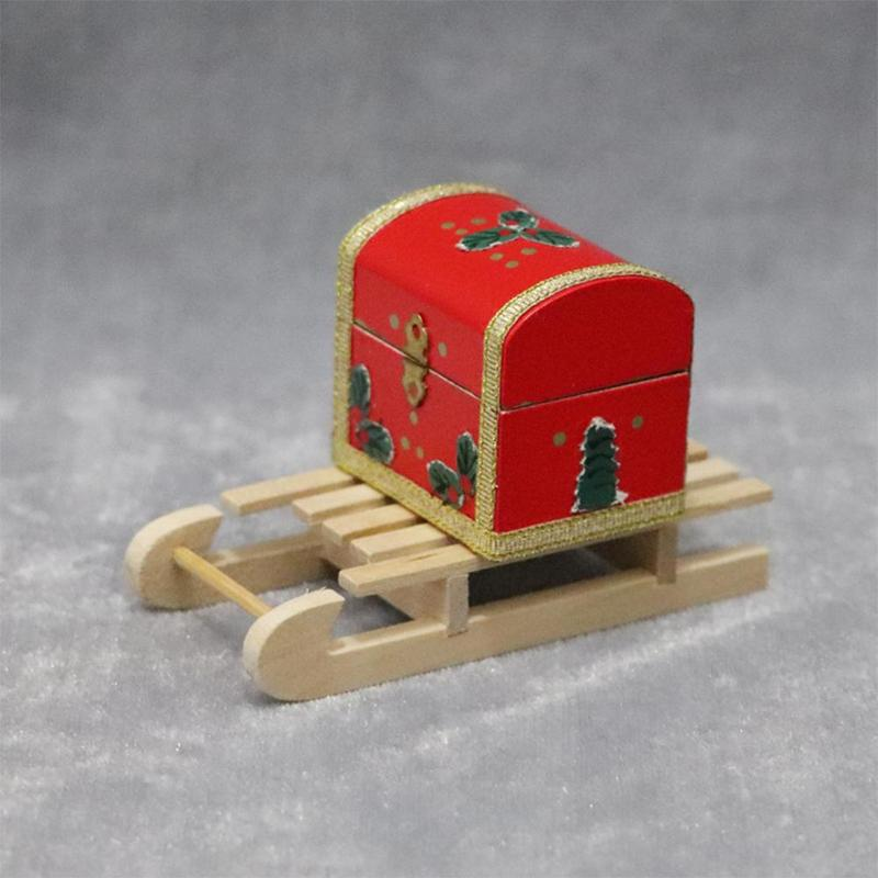1:12 Doll House Wooden Sled Diy Christmas Scene Model Accessories Wood Crafts Christmas Ornaments Party Decor 1pcs