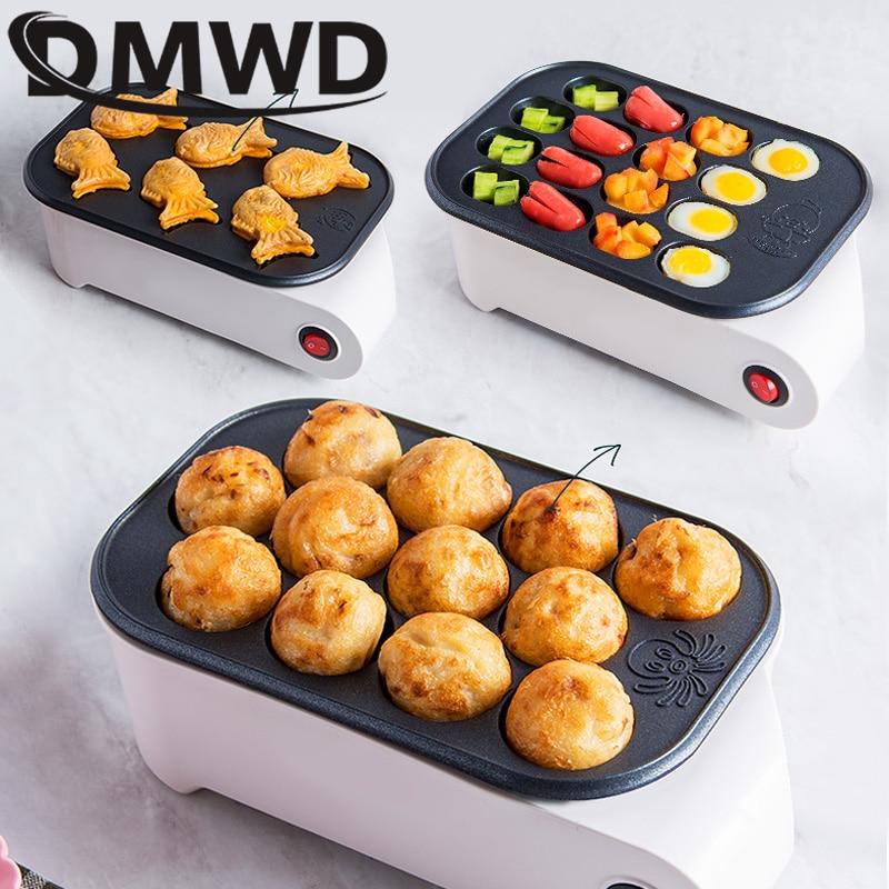DMWD Осьминог шар Производитель электрическая, для печенья тайяки машина сосиска Хотдог яйца омлет гриль японская рыба-Форма торт для сковор...