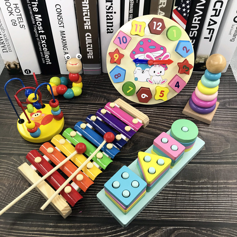Baby Toys 6-12 Month Baby Educational Force Bead-stringing Toy Building Blocks Children Beaded Bracelet 1-3 A Year Of Age 2 GIRL