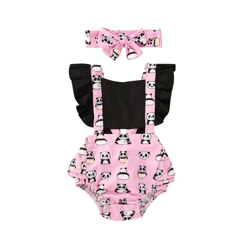 2020 Baby Girls Bodysuits Headband 2pcs Outfit Summer Clothing Newborn Cute Animal Print Ruffle Jumpsuits Playsuits 0-24M
