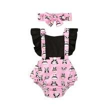 2020 Baby Girls Bodysuits Headband 2pcs Outfit Summer Clothing Newborn Cute Anim