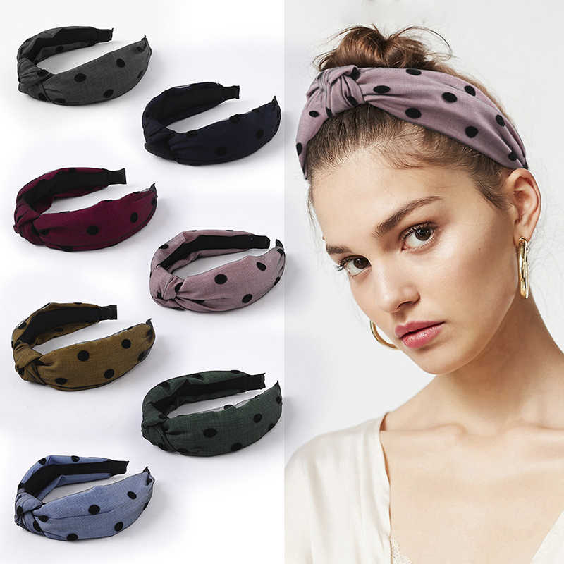 Dot Lace Yarn Cross Knotted Wide Headband Fashion Head Hoop Bow Hair Accessories Girls Head Wrap Women Lady Hair Band
