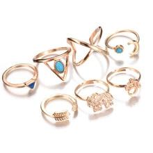 2020 34 estilo nuevo brillante noche estrellada anillos Vintage nudillo para mujeres geométrico bohemio anillo de cristal flor Set bohemio dedo Je